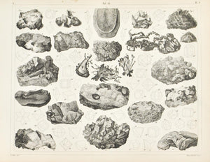 Sulphur Silver Lead Copper Gold Antique Mineralogy Print 1857