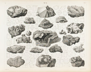 Tin Iron Sapphire Silica Copper Antique Mineralogy Print 1857