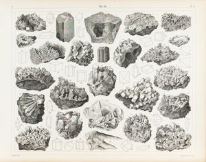 Green Garnet Natrolite Spodumene Feldspar Antique Mineralogy Print 1857
