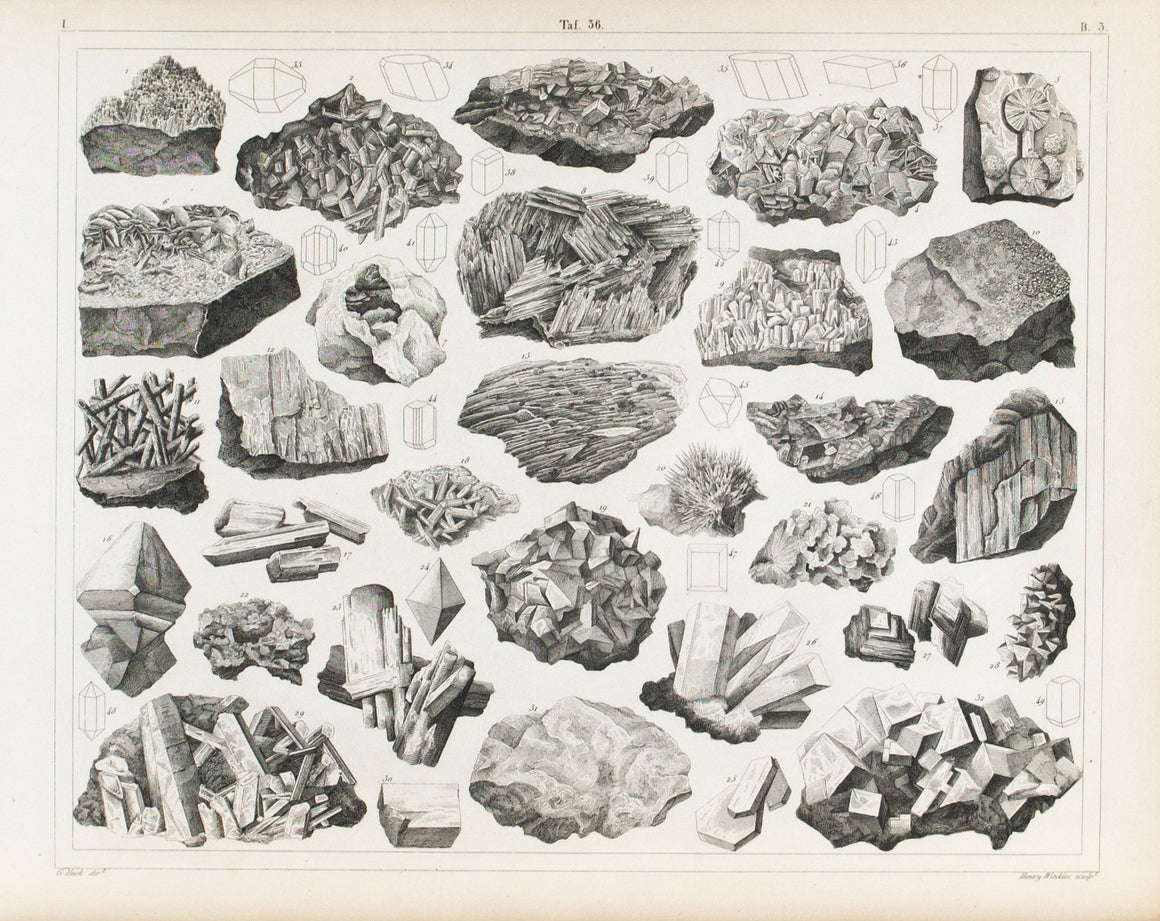 Rocksalt Fluospar Karetenite Lead Ammonia Antique Mineralogy Print 1857