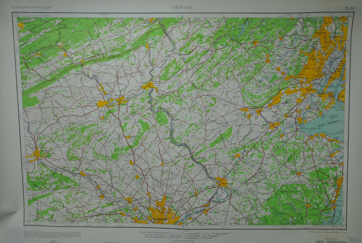 1947 U.S. Geological Army Survey Map Newark New Jersey - Army Map Service