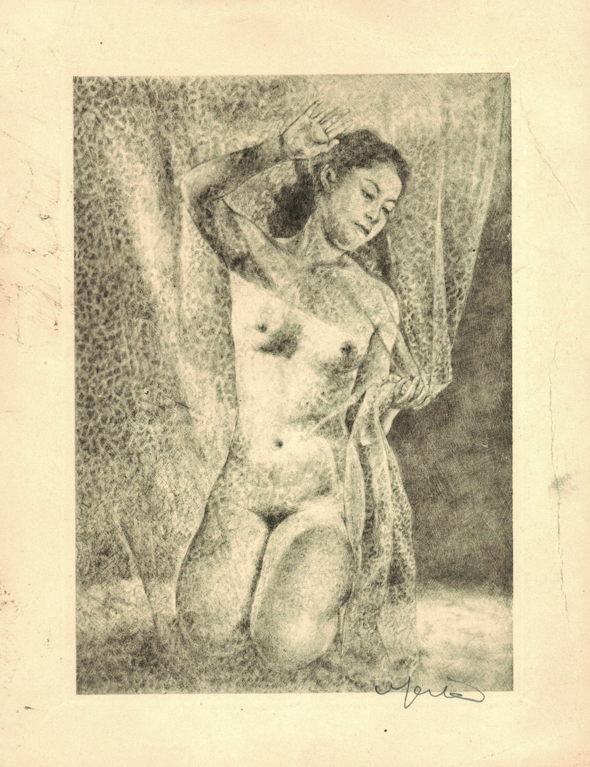 Willy Seiler - Young Nude Women - Signed Etching - c 1950