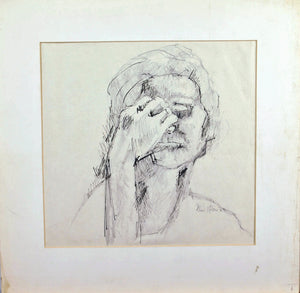 Elsie Rubin 1963 Despair Signed Sketch Woman Portrait Holding Head Matted 20x20
