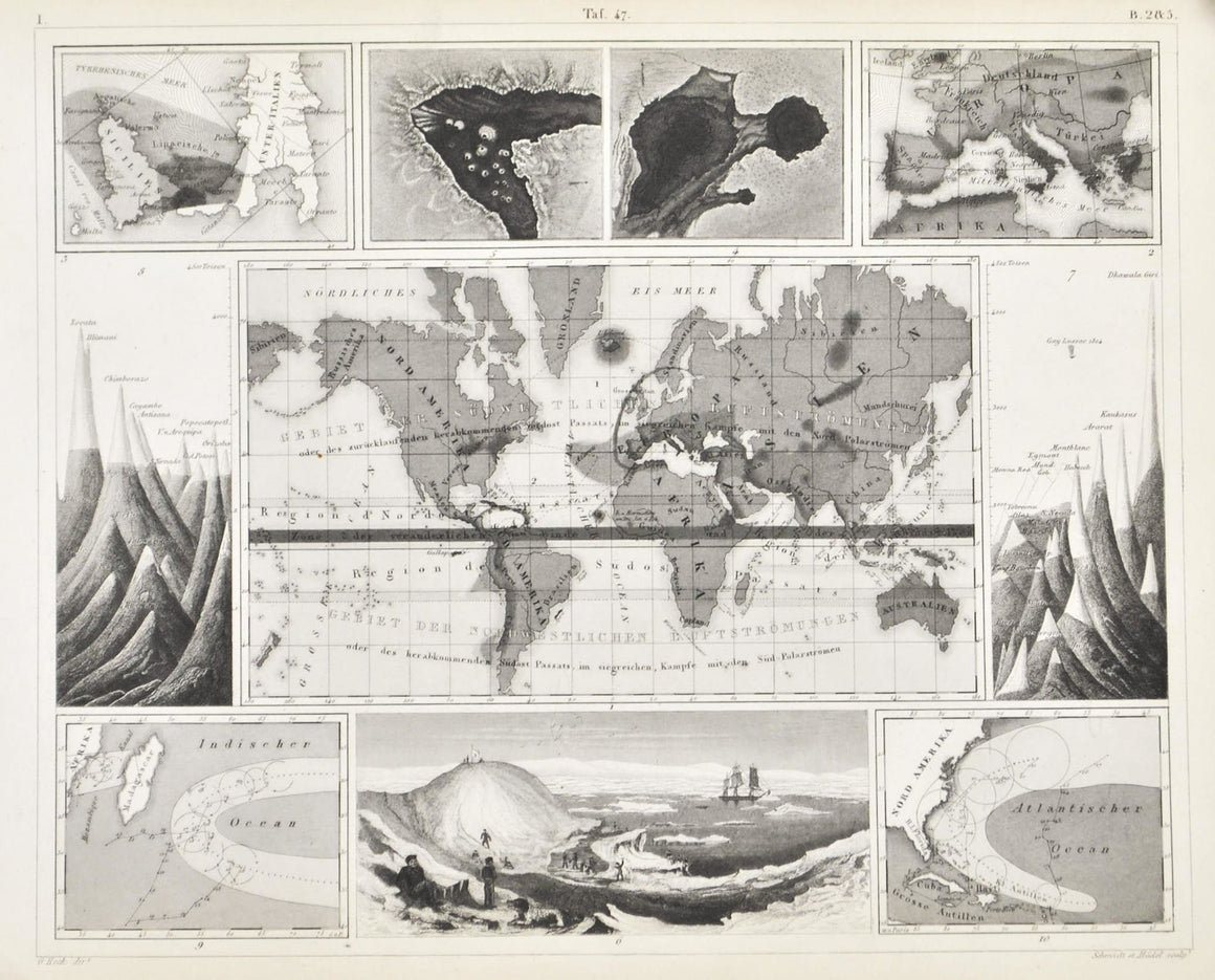 World Winds Map Kilauea Hurricanes Antique Geology Print 1857