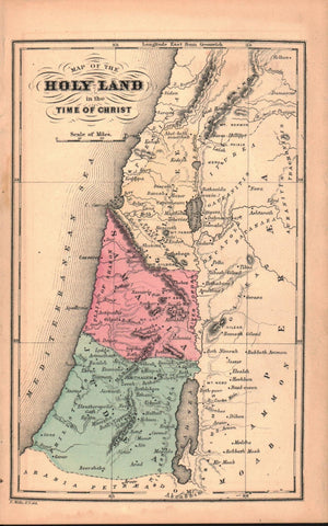 1870 Map of the Holy Land in the Time of Christ - E Wells