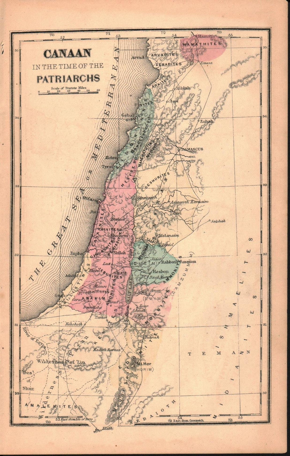 1870 Canaan in time of the Patriarchs - E Wells