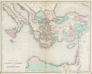 1870 Map Travels of Apostle Paul - E Wells
