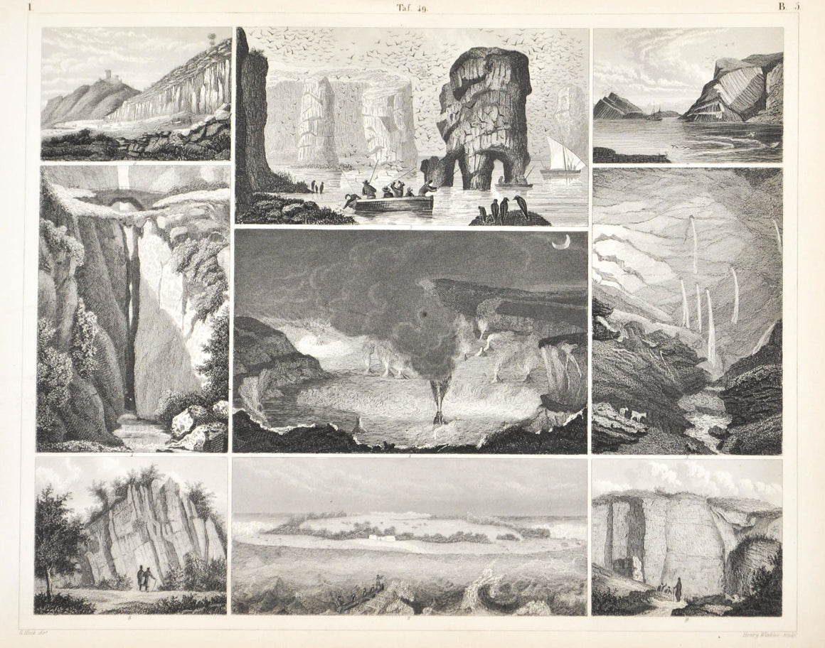 Hawaii Crater Coral island Natural Bridge Columbia Antique Geology Print 1857