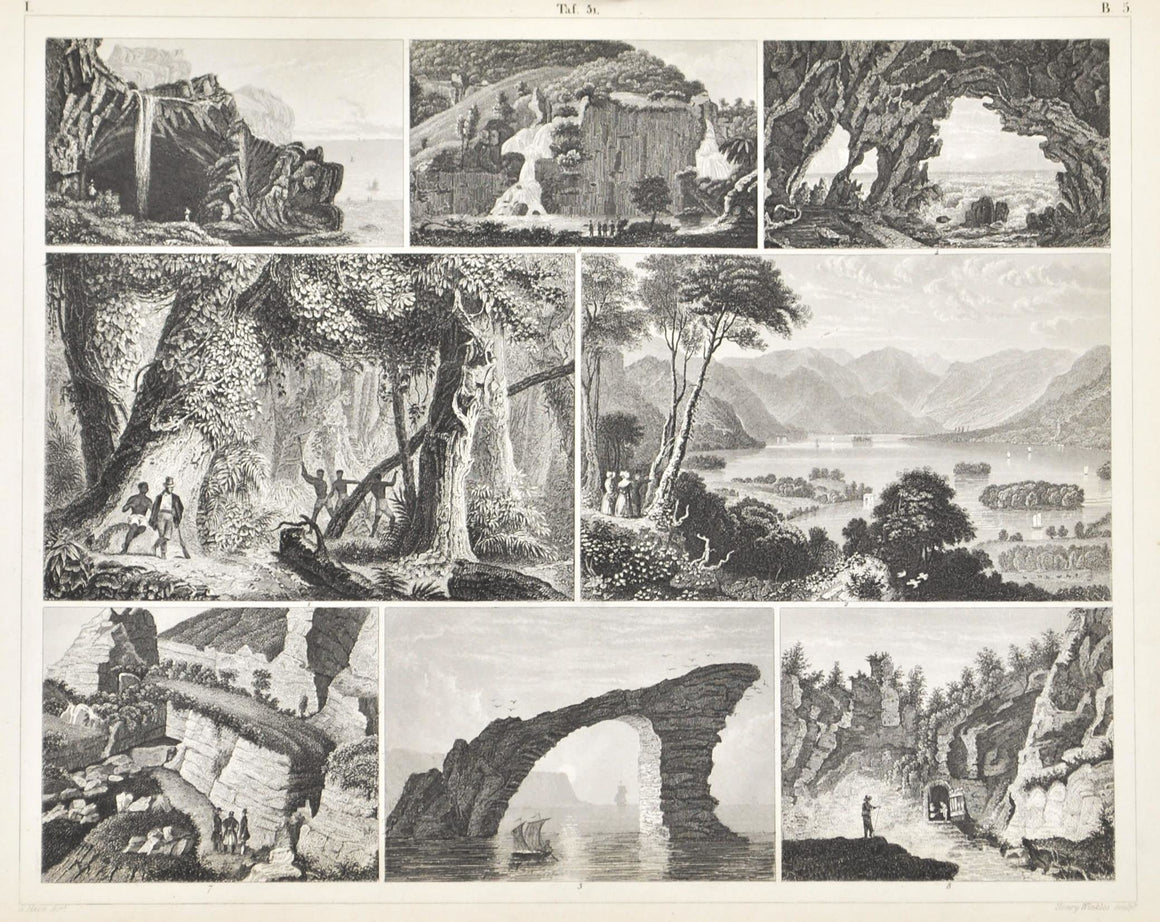 Brazil Isle of Wight Grotto Naples Greece Antique Geology Print 1857