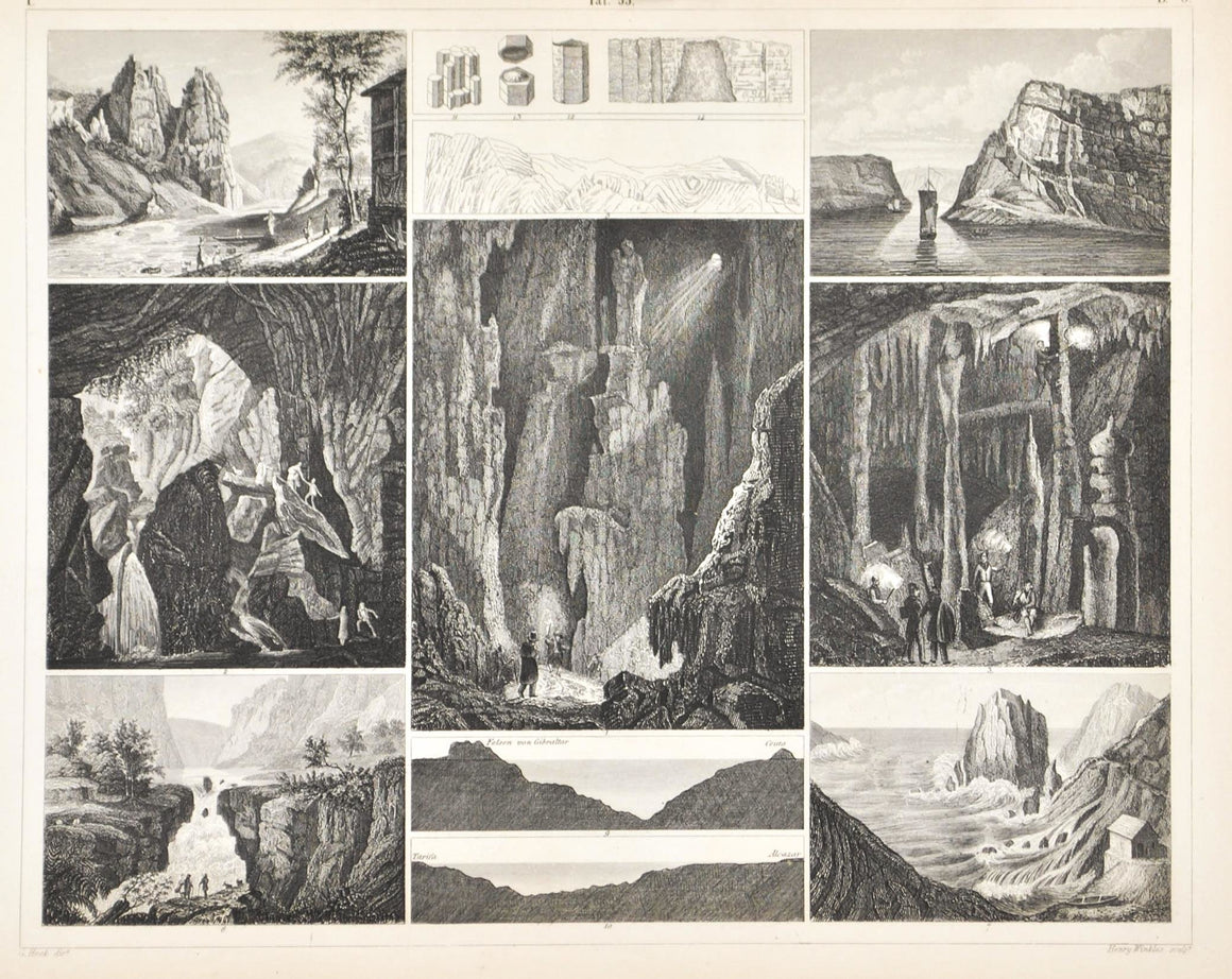 Caves of England France Spain Germany Antique Geology Print 1857