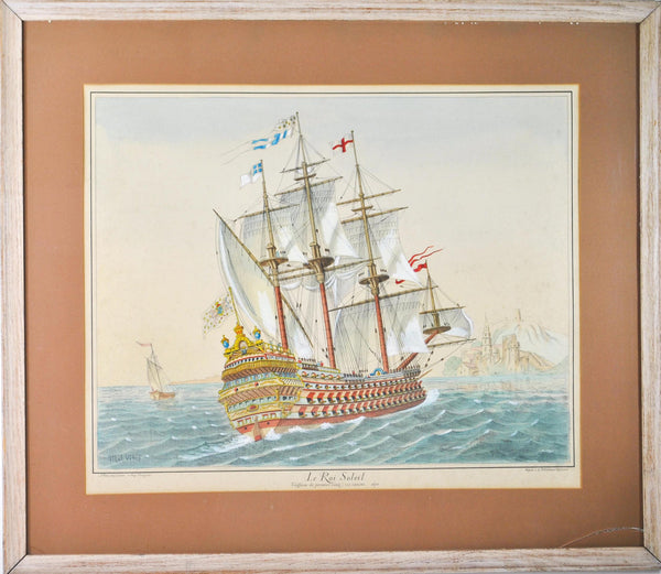 19th c. Nautical Color Print Le Roi Soleil The Sun King Ship Louis the Great