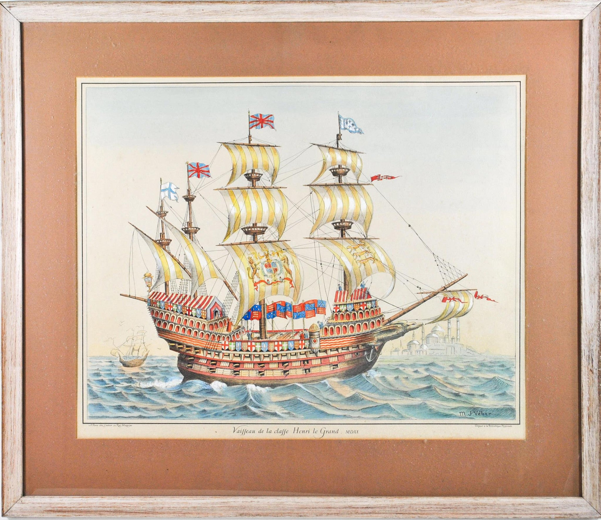 19th C Nautical Print Hand Color Great Harry English Battleship Ship 1520