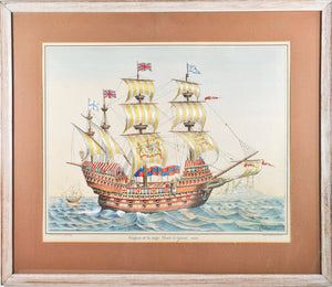 19th c. Nautical Print Hand Color Great Harry English Battleship Great Ship 1520