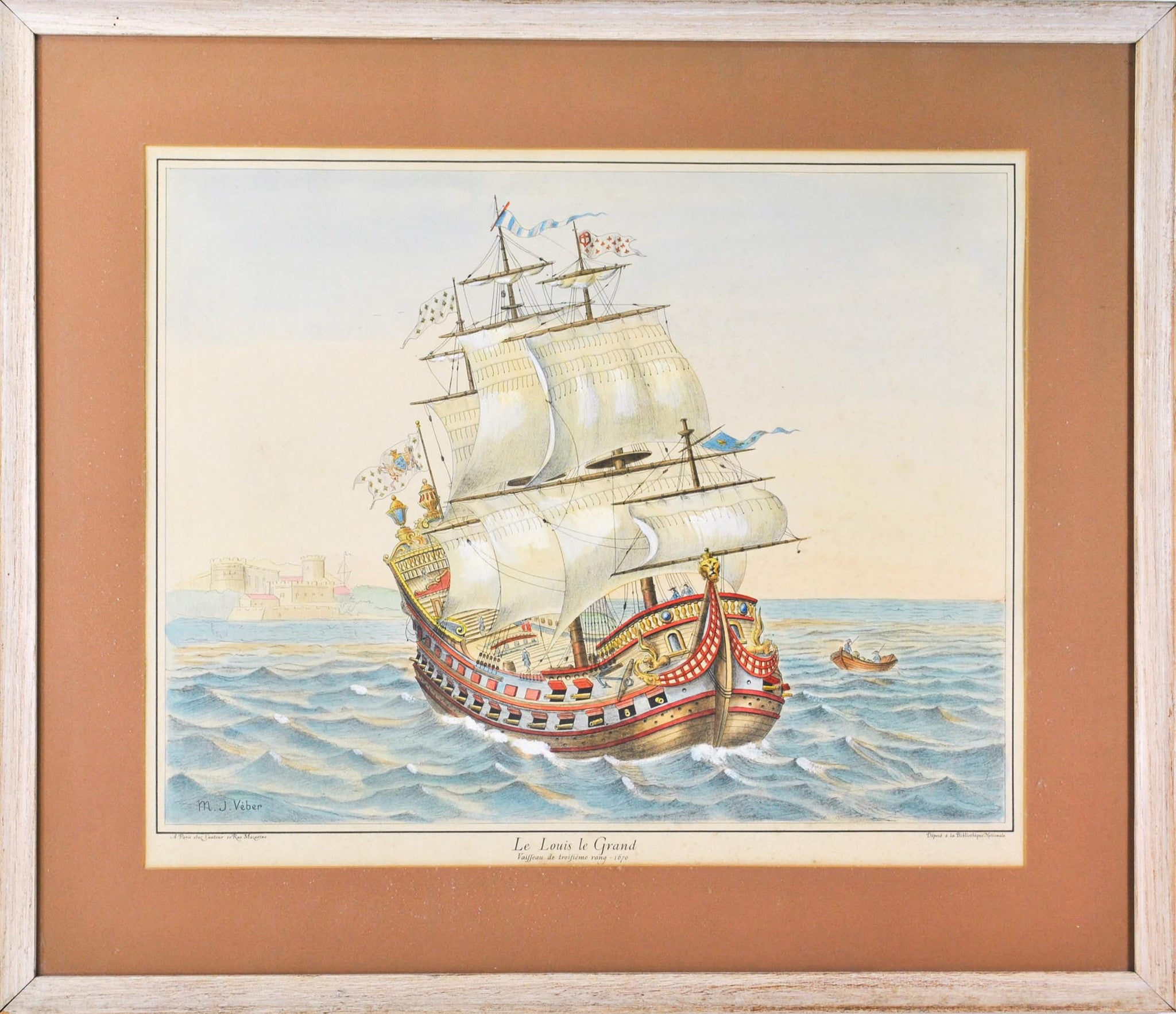 19th C Nautical Print Hand Color Le Louis Grand Great Ship Battleship Framed