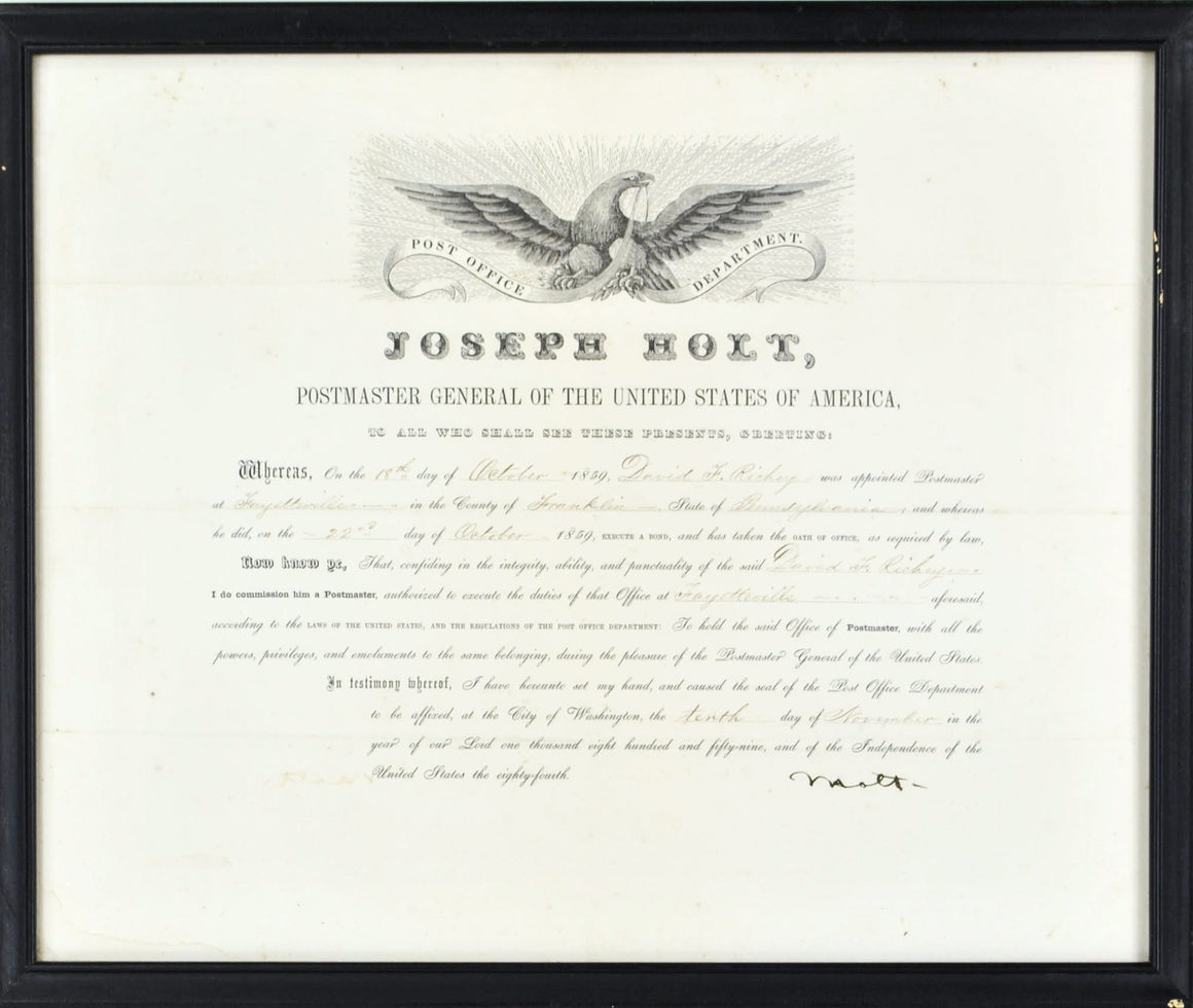 Autograph Joseph Holt Lincoln Assassination Prosecutor 1859