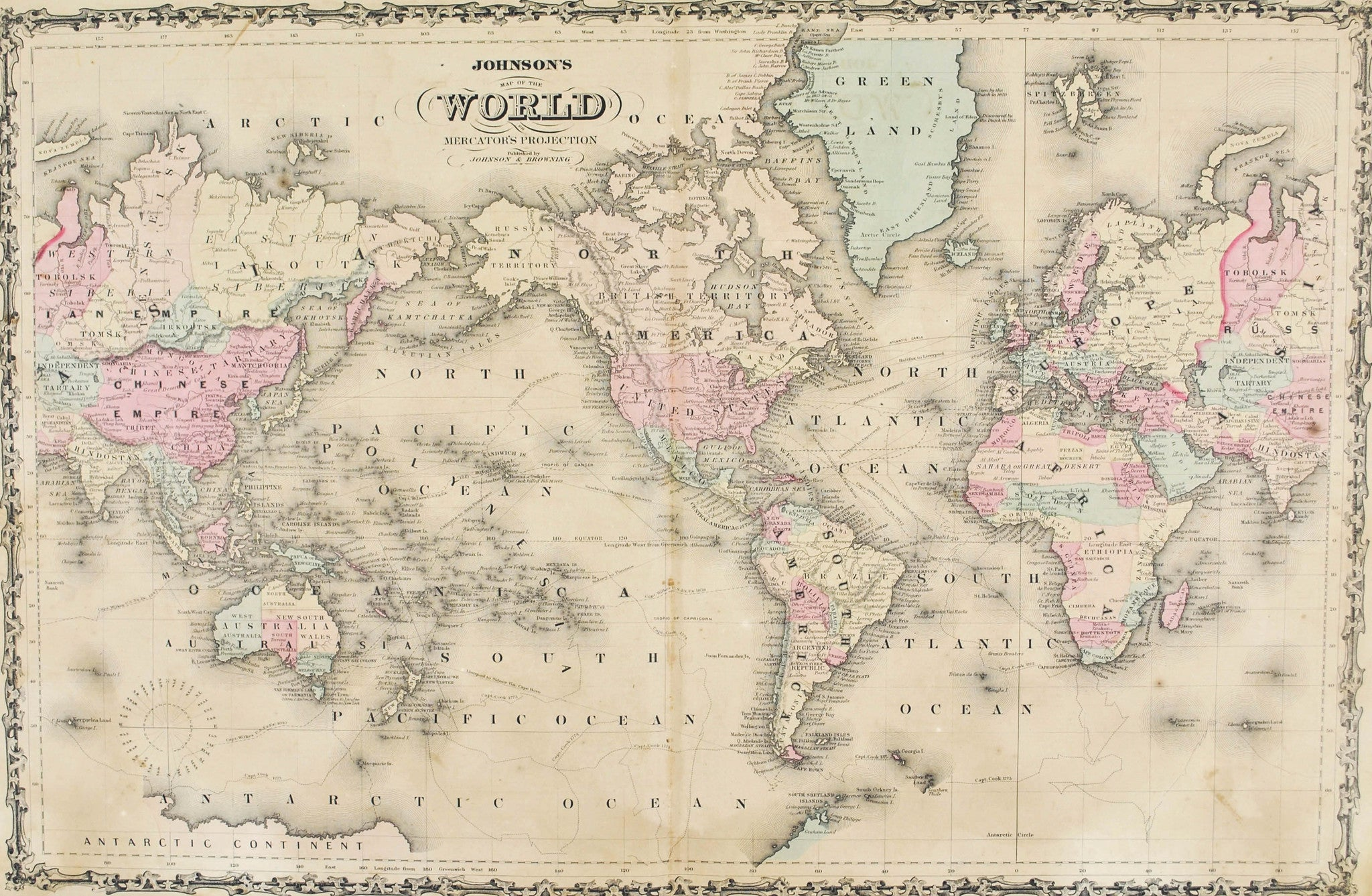 1860 Map of the World in Mercator's Projection   Johnson