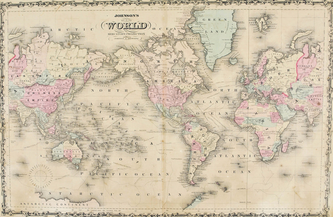 World Map Antique Johnson Hand Colored Map 1860