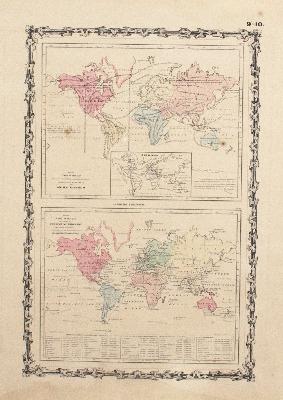 1860 Map of the World Productive Industry - Johnson