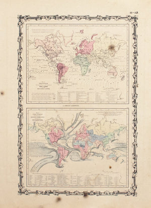 1860 Map of the World Ocean Currents Tidal Lines - Johnson