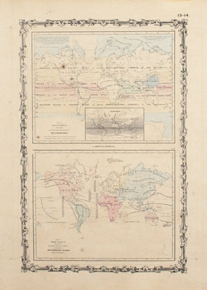 1860 Map of the World Meteorology & Cultivation - Johnson