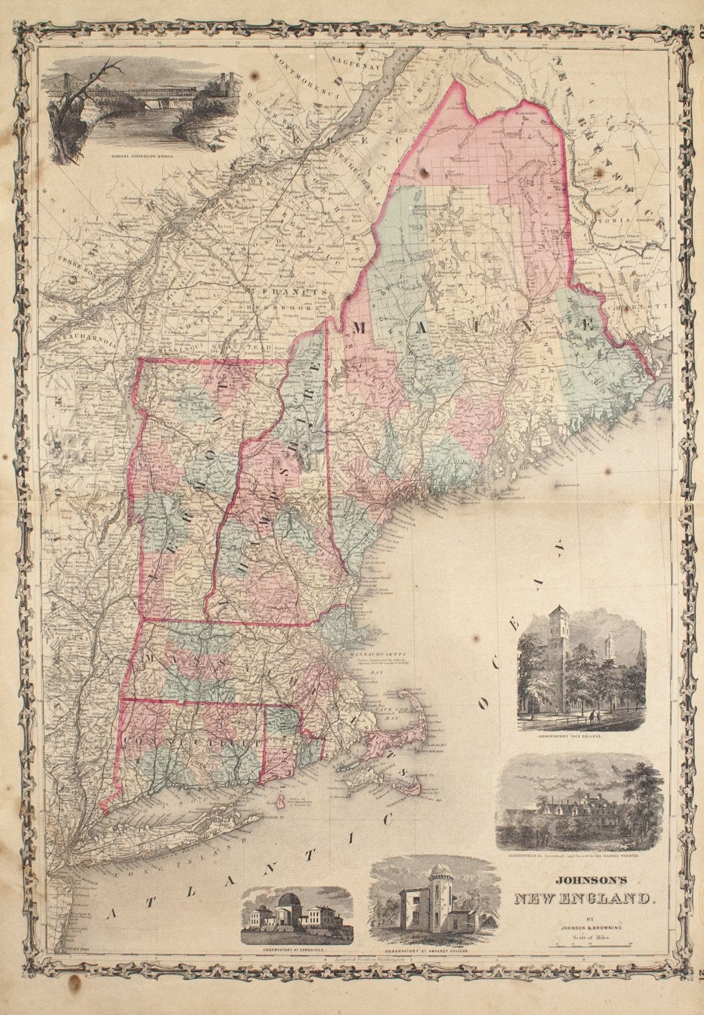 Antique maps original and authentic historic accents tagged 1860 new england johnson publicscrutiny Image collections