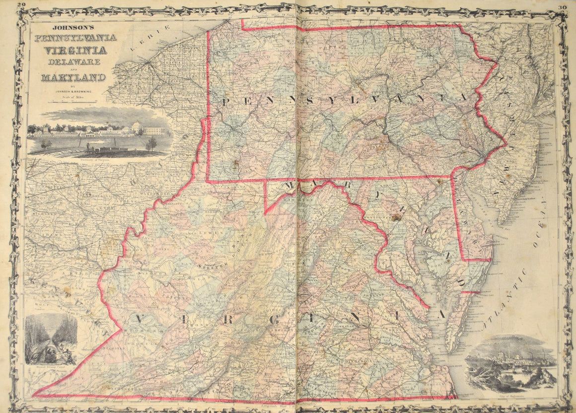 1860 Pennsylvania, Virginia, Delaware and Maryland - Johnson