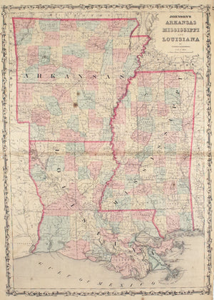 1860 Arkansas Mississippi and Louisiana - Johnson
