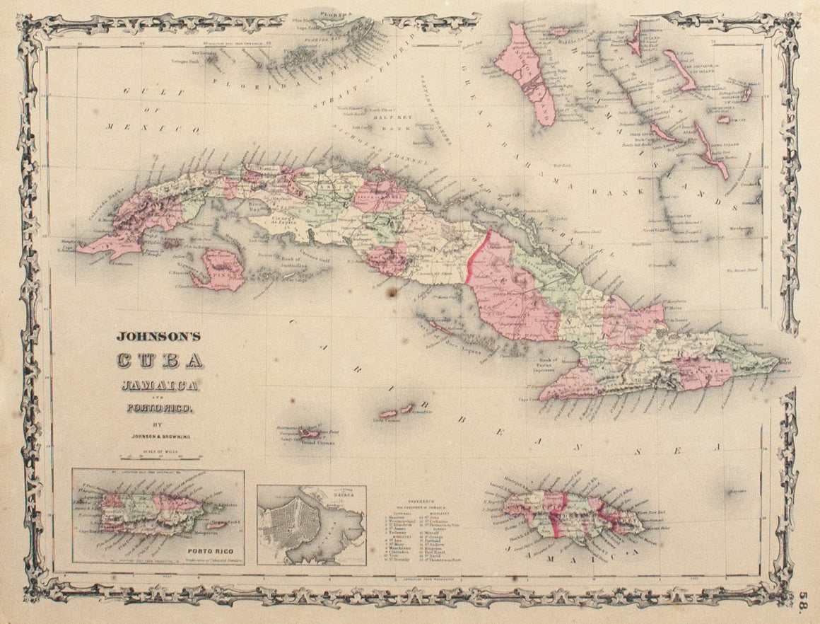 1860 Cuba Jamaica and Porto Rico - Johnson