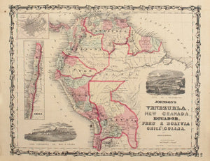 1860 Venezuela New Granada Ecuador Peru Bolivia Chile and Guiana - Johnson