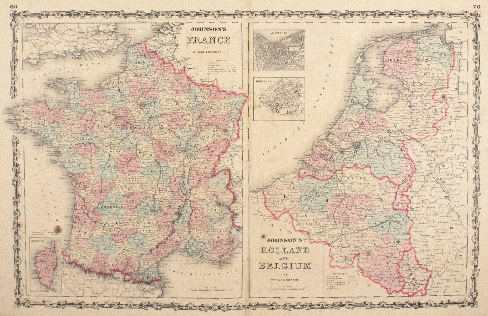 Map Of France And Holland Belgium.1860 France Holland And Belgium Johnson Historic Accents