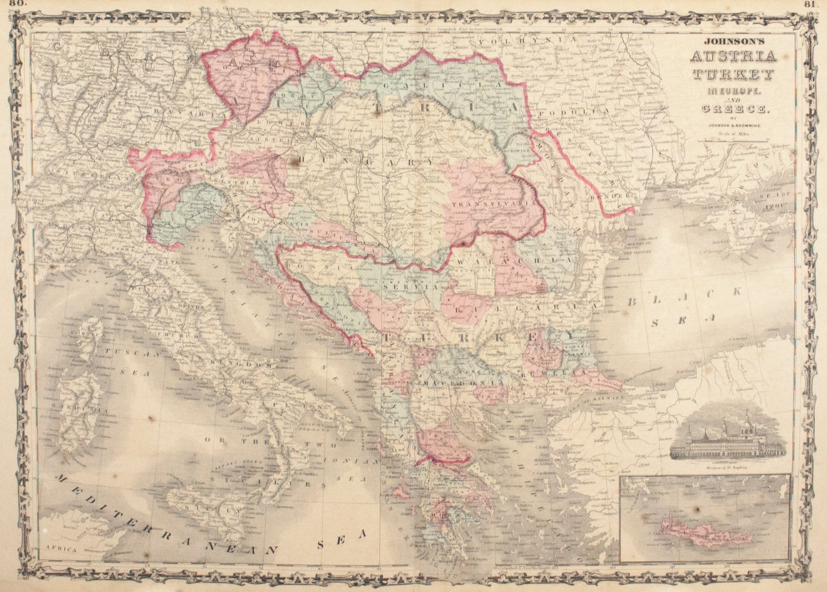 1860 Austria Turkey in Europe and Greece - Johnson