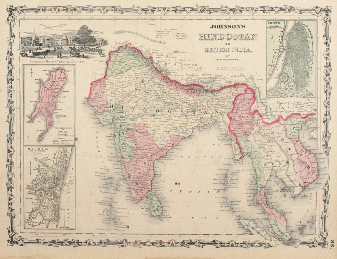 1860 Hinostan or Brittish India - Johnson