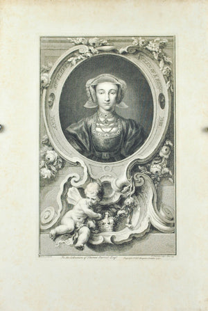 Queen Anne of Cleves Wife to King Henry VIII Antique Engraved Print 1740