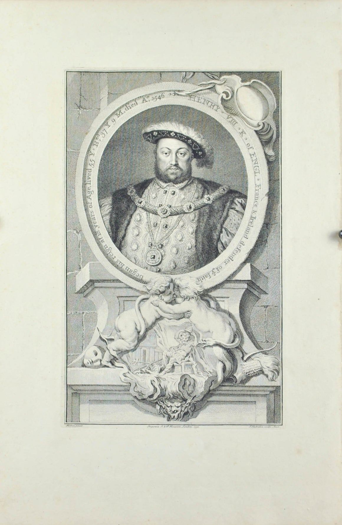 Henry VIII King of England Antique Engraved Print 1738 British Royalty
