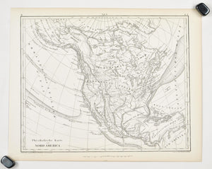 1857 Tef 6 Physical Map of North America - JG Heck
