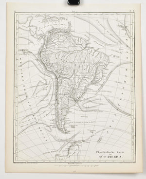 1857 Tef 7 Physical Map of South America - JG Heck