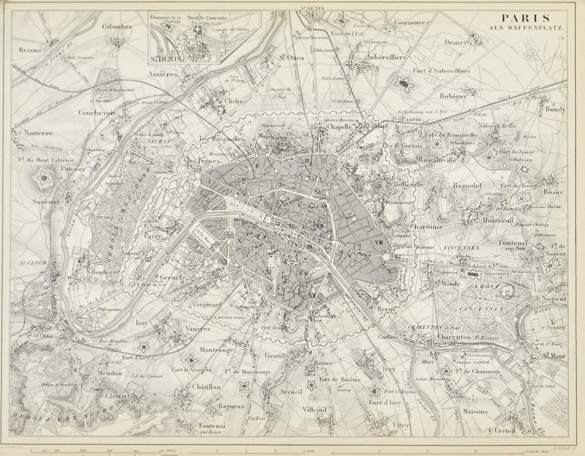 1857 Tef 35 Fortifications of Paris - JG Heck