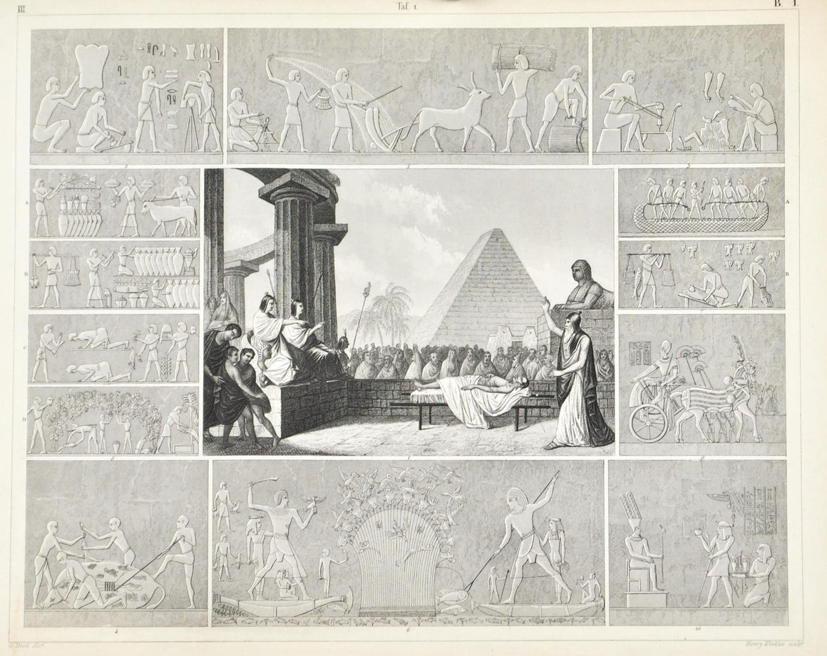 Egypt Hieroglyphs Court of the Dead Antique Print 1857