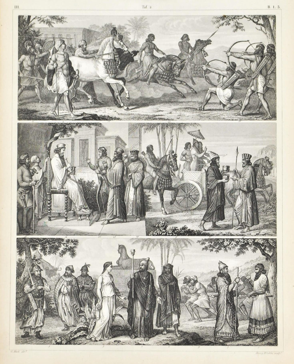 Middle Eastern Costumes Antique Print 1857