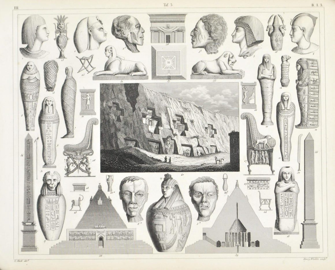 Egypt Culture Mummy Sphinx Rock Tombs Antique Print 1857