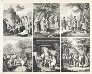 German Culture Wedding Gauls Antique Print 1857
