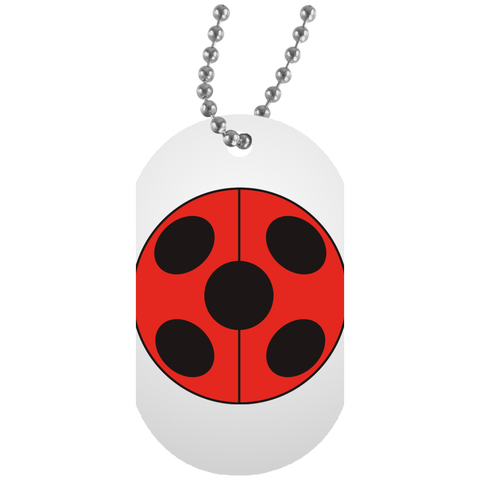 _FLATLadybug  White Dog Tag