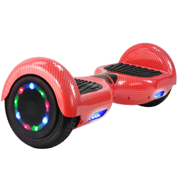 Carbon Fiber Hoverboard (Red) with Bluetooth & LED Wheels - UL-2272 Certified