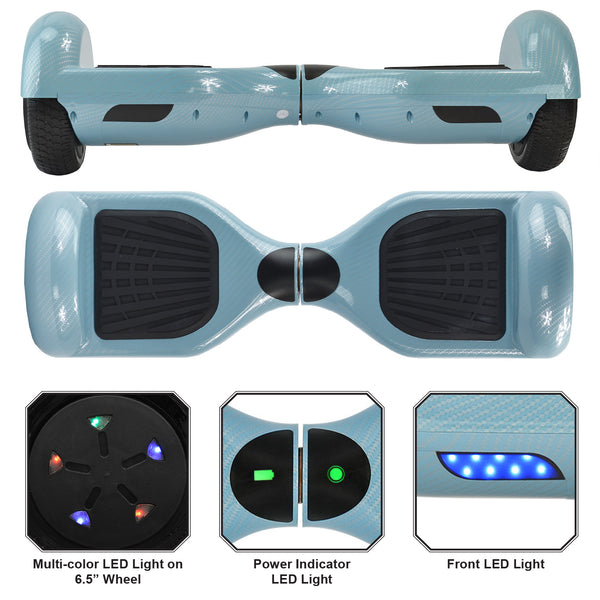 Carbon Fiber Hoverboard | Blue with Bluetooth & LED Wheels - UL-2272 Certified | Bluetooth Speaker