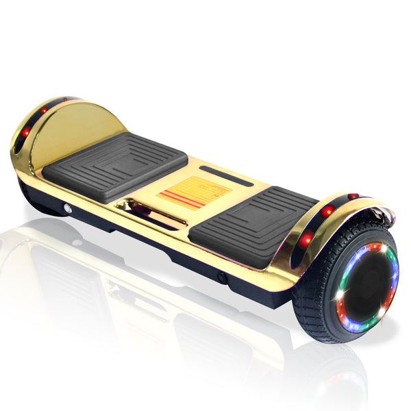 New Flat Surface Hoverboard RMW 6.5 Chrome Gold with Bluetooth and Carry Handle