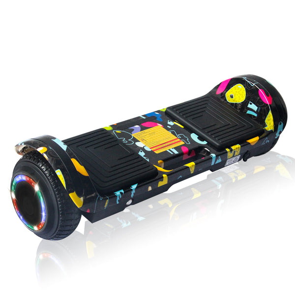 New Flat Surface Hoverboard RMW 6.5, Black WOW Graphics with Bluetooth and Carry Handle