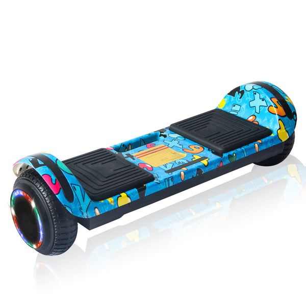 New Flat Surface Hoverboard RMW 6.5, Blue WOW Graphics with Bluetooth and Carry Handle