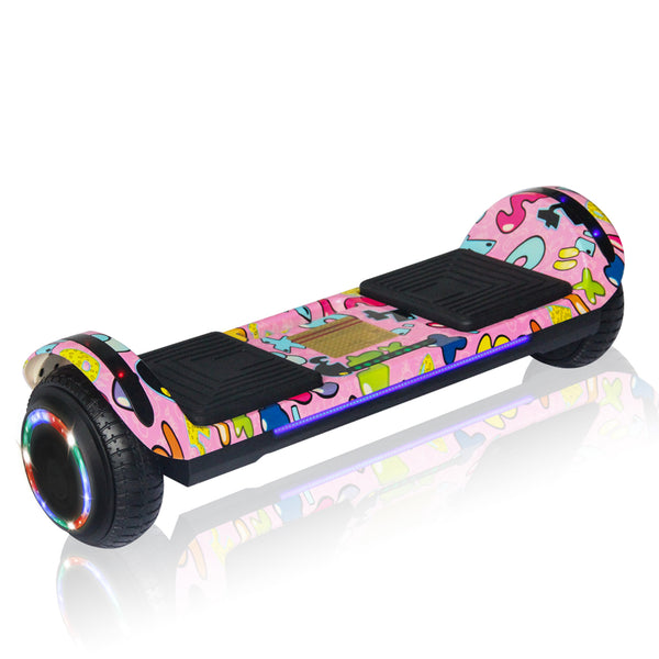 New Flat Surface Hoverboard RMW 6.5, Pink WOW Graphics with Bluetooth and Carry Handle
