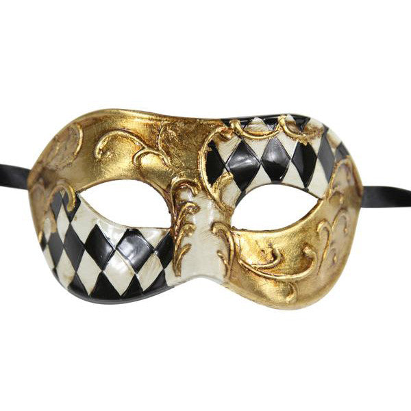 Half CHECKERED  Vintage Design Masquerade Mask - Luxury Mask - 1