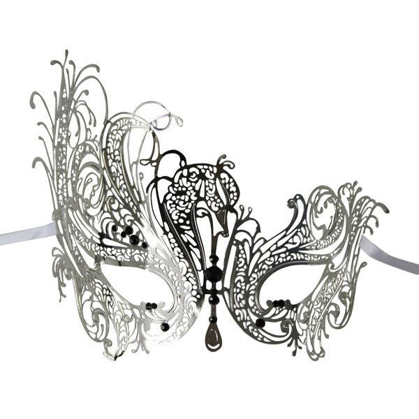 SILVER Series Swan Metal Filigree Laser Cut Venetian Masquerade Mask - Luxury Mask - 1